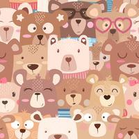 Naadloos patroon - schattige set beer.