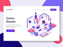 Landing page template of Online Retailer Illustration Concept. Isometric flat design concept of web page design for website and mobile website.Vector illustration