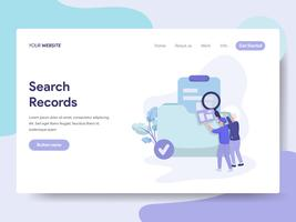 Landing page template of Search Records Illustration Concept. Isometric flat design concept of web page design for website and mobile website.Vector illustration