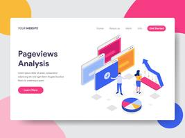 Landing page template of Pageviews Analysis Isometric Illustration Concept. Isometric flat design concept of web page design for website and mobile website.Vector illustration