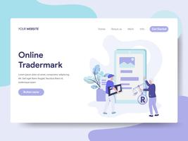 Landing page template of Online Copyright and Trademark Illustration Concept. Isometric flat design concept of web page design for website and mobile website.Vector illustration