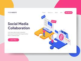 Landing page template of Social Media Collaboration Isometric Illustration Concept. Isometric flat design concept of web page design for website and mobile website.Vector illustration