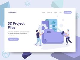 Landing page template of 3d Project Files Illustration Concept. Isometric flat design concept of web page design for website and mobile website.Vector illustration
