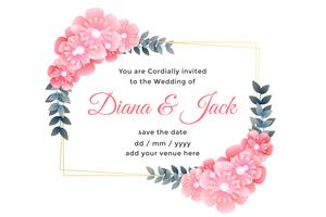 beautiful flower decorative wedding card design