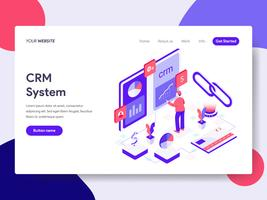 Landing page template of CRM System Illustration Concept. Isometric flat design concept of web page design for website and mobile website.Vector illustration