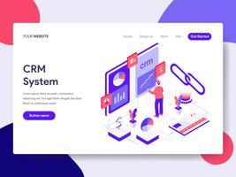 Molde da página da aterrissagem do conceito da ilustração do sistema de CRM. Conceito de design plano isométrico de design de página da web para o site e site móvel.