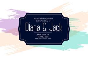 bröllopskortdesign med pastellfärgborstslag