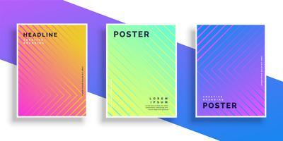 Vibrerande ljusa färglinje mönster affisch design set