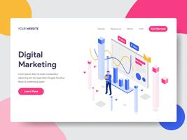 Landing page template of Engagement Rate Isometric Illustration Concept. Isometric flat design concept of web page design for website and mobile website.Vector illustration