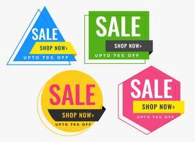 striscioni di vendita di forma geometrica in molti colori