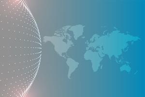 mapa del mundo con fondo de partículas circulares