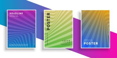 Resumen línea vibrante rayos volante folleto diseño conjunto
