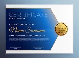 Anerkennung Zertifikat Vorlage im blauen Thema