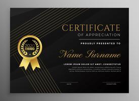 modèle de certificat noir premium avec lignes dorées