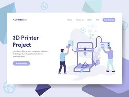 Landing page template of 3D Printer Illustration Concept. Isometric flat design concept of web page design for website and mobile website.Vector illustration