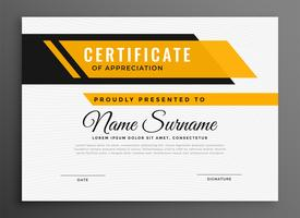 certificate award diploma template in yellow color