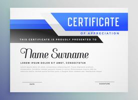 stylish blue copmany certificate of appreciation template