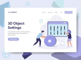 Landing page template of 3d Object Settings Illustration Concept. Isometric flat design concept of web page design for website and mobile website.Vector illustration
