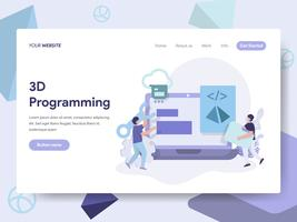 Landing page template of 3D Programming Illustration Concept. Isometric flat design concept of web page design for website and mobile website.Vector illustration
