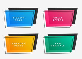 cadres de vente colorés de différentes couleurs