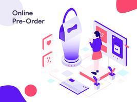 Online Pre Order Isometric Illustration. Modern flat design style for website and mobile website.Vector illustration