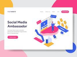 Målsidans mall Social Media Ambassador Illustration Concept. Isometrisk plattformkoncept för webbdesign för webbplats och mobilwebbplats. Vektorns illustration