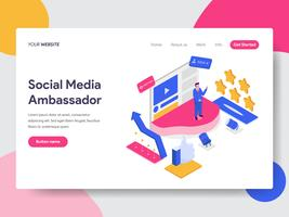 Landing page template of Social Media Ambassador Illustration Concept. Isometric flat design concept of web page design for website and mobile website.Vector illustration