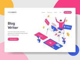 Modello di pagina di destinazione del Blog Writer Illustration Concept. Concetto di design piatto isometrica della progettazione di pagine Web per sito Web e sito Web mobile. Illustrazione di vettore