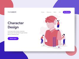 Landing page template of Character Design Process Illustration Concept. Isometric flat design concept of web page design for website and mobile website.Vector illustration