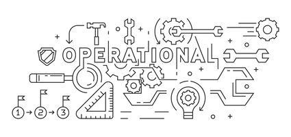 Illustrazione operativa. Line Art, Flat Line, MonoLine Design. Concetto di business e gestione. Sfondo, banner o pagina di destinazione. Vettore di stile Doodle in bianco e nero