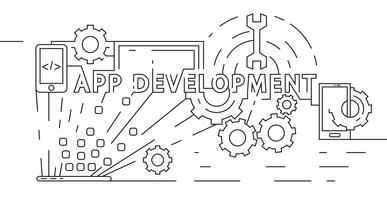 Application Development Concept. Software Developer Illustration. Flat Line Design in Geometric. Black and White Doodle Style Vector Banner, Background, or Landing Page.