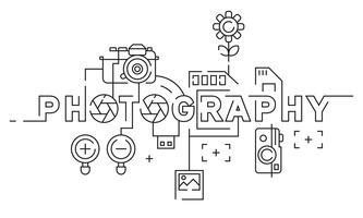 Fotografi Flat Line Design Illustration. Svartvitt Doodle Style Vector. Fotografi Art Banner, Bakgrund, etc
