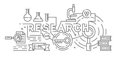Recherche, Riset ou Illustration scientifique. Style de griffonnage noir et blanc. Ligne plate art vectoriel concept. Monoline Design Bannière, arrière-plan ou page de destination