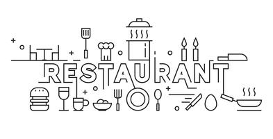 Restaurant Line Art Design. Bannière et fond de concept culinaire. Design Monoline noir et blanc. Vecteur de griffonnage noir et blanc