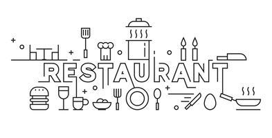 Restaurang Line Art Design. Culinary Concept Bakgrund och Banner. Svartvit Monoline Design. Svartvitt Doodle Vector