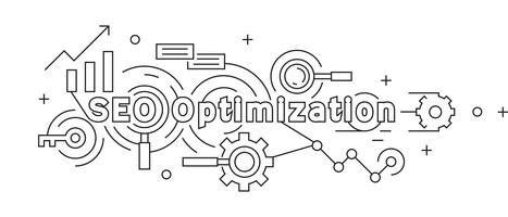 Search Engine Optimization Flat Line Design-Konzept. Geometrische Gekritzelart. Jugendlicher Schwarzweiss-Vektor. Geschäfts- und Technologie-Thema Banner oder Hintergrund