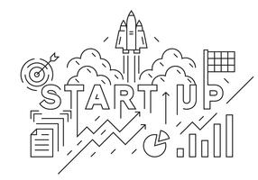 Start Up Company Banner, Background, or Landing Page. Business Concept Illustration. Black and White Doodle Style Vector. Flat Line Design