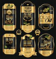 Collection d'étiquettes rétro huile d'olive