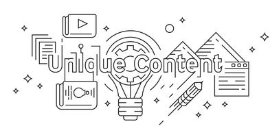 Unique Content Concept Flat Line Design. Youth Doodle Style Geometric in Black and White. Banner, Background, or Landing Page Design Illustration