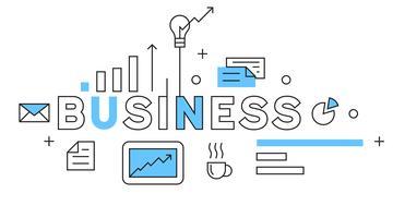 Design de linha plana de negócios em azul. Conceito de ilustração de negócios com estilo Doodle. banner de tipografia jovem ou landing pages.flat e geométrica