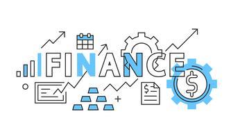Projeto liso da finança no azul. Negócios e Finanças ilustração em estilo Doodle. Aumento da renda e do gerenciamento de dinheiro