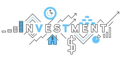 Investment Flat Line Design In Blue. Business and financial vector illustration designs