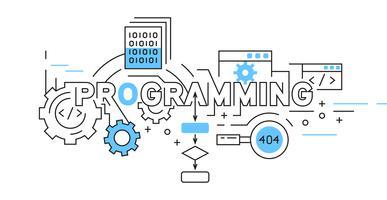 Programmazione del design di una linea piatta. disegno in bianco e nero stile doodle in blu. banner e illustrazioni di temi aziendali e tecnologici