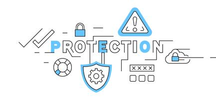 Protection Flat Line Design In Blue. system security and data safety illustration. business and technology theme vector