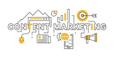 Diseño de línea plana de marketing de contenido en naranja. Ejemplo geométrico joven del diseño del estilo del Doodle. Concepto de negocio e industrias creativas