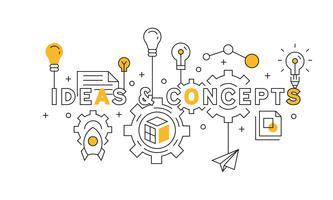 Linea di design idee e concetti in arancione. fonte del grande progetto. vettore di doodle stile giovanile