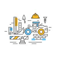 Illustration de la construction. City Line Flat Line Design aux couleurs bleu et orange. Projets et industries Doodle Style Vector