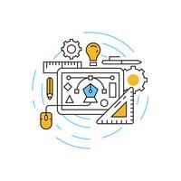 Grafisk designillustration. Planlösning med orange och blå färger. Ungdomlig Doodle Style Vector i cirkeln. Creative Business Concept