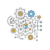 Illustrazione della gestione. Project Management Concept Design a linea piatta con colori arancio e blu. Gestione aziendale Doodle stile vettoriale e giovanile