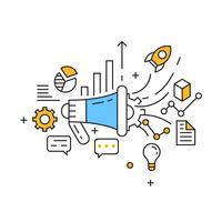 Illustrazione di marketing. Tecnologia Marketing Flat Line Design. Vettore di marketing del prodotto con stile Doodle e pubblico giovanile. Infografica di marketing aziendale